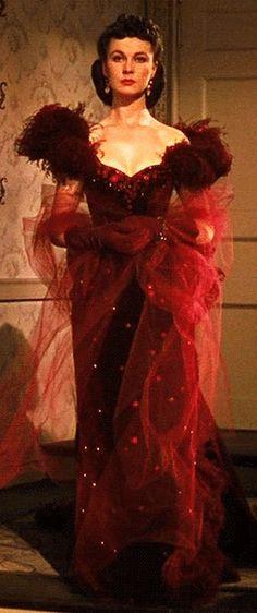 Scarlett O'Hara in her Red Velvet Gown, designed by Walter Plunkett, 1939.