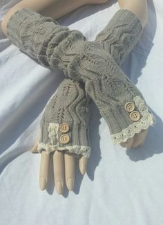 Gray Knit Arm Warmers- With Crochet Lace Trim by TheBuenaVistaGallery on Etsy