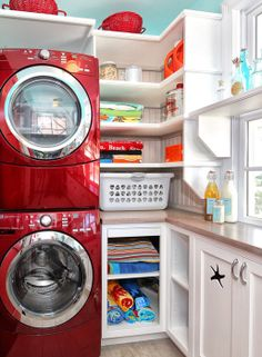 Stacked units with Corner shelves for small laundry rooms