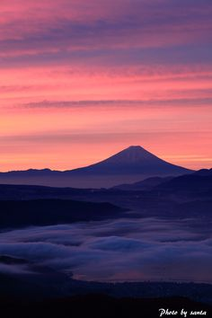 Mt.Fuji in sunset 富士山 夕焼け Exactly as I saw it in March, 1978 while on a flight from Tokyo (Haneda) to Osaka.