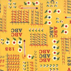 NEW - School Days Collection by American Jane - Letters, Numbers, and Script - Yellow - Moda Fabric. $8.25, via Etsy.