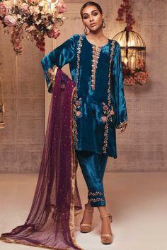 : Sana Abbas Brings Velvet Back! Velvet Pakistani Dress, Pakistani Formal Dresses, Pakistani Outfits, Indian Dresses, Indian Outfits, Indian Clothes, Pakistani Clothing, Shadi Dresses, Stylish Dress Designs