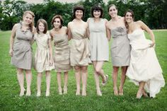 Bridesmaids decked out in a sea of neutral are fast becoming the hot wedding accessory. We've seen it time after time and it never disappoints. Dawn E. Roscoe photographed this beauty of a case in point and it's rocking a deliciously