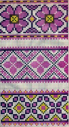 Scheme of Ukrainian embroidery (for tapestry crochet) Tapestry Crochet Patterns, Fair Isle Knitting Patterns, Bead Loom Patterns, Knitting Charts, Beading Patterns, Embroidery Patterns, Cross Stitch Borders, Cross Stitch Flowers, Cross Stitch Charts