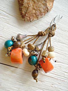 Boho Earrings  African Earrings  Red Coral by HandcraftedYoga, $28.00
