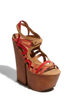 """the 1970's are back!!!! 2012 Jeffrey Campbell 'Follie' Sandal, in Red Coral - also comes in a aqua blue and white version, very pretty. """"Pop-art straps paint colorful retro-chic across a push-pin sandal sent sky-high by a stunningly tall platform and heel."""" these nude colored chunky platform sandals have a 7"""" heel with a 3 1/4"""" platform, comparable to walking in a 3 3/4"""" heel, not so high after all!!!!   $154.95  i love these."""