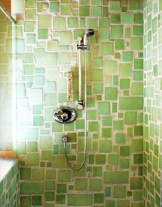 Awesome jade/peridot colored shower tiles