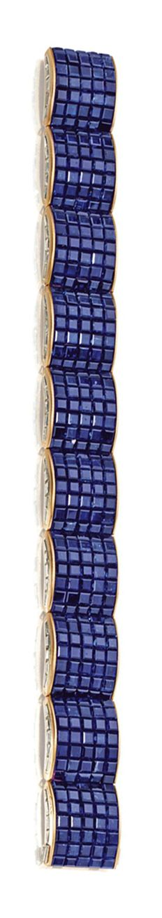 MYSTERY-SET SAPPHIRE AND DIAMOND BRACELET, VAN CLEEF & ARPELS, NEW YORK, 1936. Designed as ten arched links mystery-set with 350 calibré-cut sapphires weighing 70.00 carats, the sides accented with 100 baguette diamonds weighing 9.00 carats, mounted in 18 karat gold, length 7 1/8 inches, signed Van Cleef & Arpels, made in France, numbered N.Y. 41024-2.
