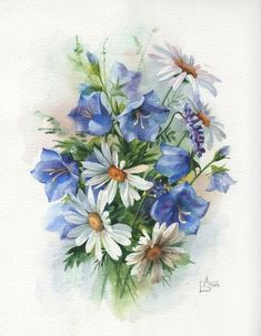 White daisies and blue flowers Art Floral, Floral Prints, Botanical Flowers, Botanical Art, Watercolor Flowers, Watercolor Paintings, Decoupage, China Painting, Pictures To Paint