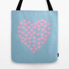 Hearts+Heart+Pink+on+Blue+Tote+Bag+by+Project+M+-+$22.00