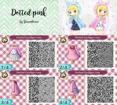 animal crossing new leaf qr code cute pink white dotted dress with hood outfit fashion mode clothes twins acnl design by sturmloewe