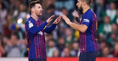Luis Suarez of FC Barcelona celebrates with his teammates Lionel Messi of FC Barcelona after scoring his team's third goal during the La Liga match between Real Betis Balompie and FC Barcelona at Estadio Benito Villamarin on March 2019 in Seville, Spain. Pique Barcelona, Fc Barcelona, Free Kick, Popular News, Man United, Uefa Champions League, Lionel Messi, Cristiano Ronaldo, Espn