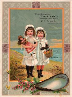 Old advertising card - Two little girls at the beach