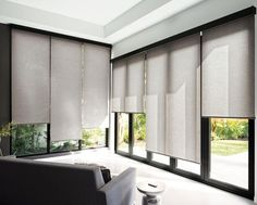 Our Solar Shades reduce heat and glare in sun-soaked homes and prevent furniture damage due to UV rays. Available in a range of stylish looks - including our exclusive designer collection from Scott Living Sliding Door Window Treatments, House, Modern Blinds, Curtains Living Room, Home, Roller Shades Living Room, Sliding Door Blinds, Modern Windows, Window Treatments Living Room