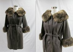 60s Grey Brown Suede and Fur Coat / 1960s by livinvintageshop