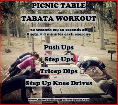 Picnic Table Tabata Style Workout #fitness #parkworkout