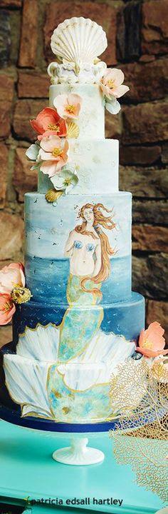 .mermaid painted tiered cake