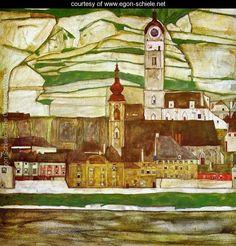 Stein On The Danube With Terraced Vineyards - Egon Schiele - www.egon-schiele.net