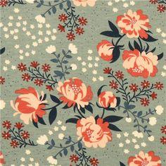 Peonies Mint peony flower birch knit organic fabric from the USA 1
