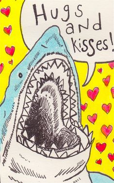 Shark Attack Mini Kids Valentines  Pack of 24 by WhiteCatBlackDog, $16.00