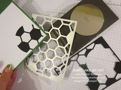 """The Hexagon Hive Thinlit, the 2-1/2"""" Circle punch and the Fringe Scissors can make a fabulous soccer card! - Stampin' Up!® - Stamp Your Art ..."""