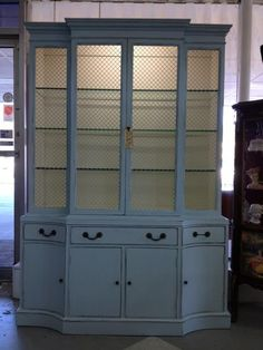 Beautiful French Blue China Cabinet at De'France