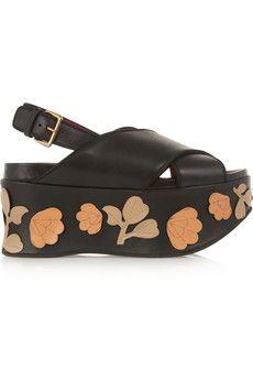 Marni Sandales à plates-formes en cuir ornées d'appliqués fleuris   NET-A-PORTER