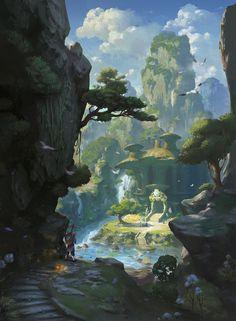 Mountain Valley, Xiaosheng Bai on ArtStation at https://www.artstation.com/artwork/yoGvx