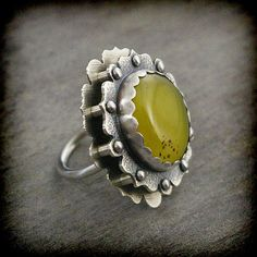 Yellow Brazilian Agate Stone & Sterling Silver Riveted Ring by EraArtJewelry on etsy