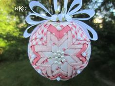 Offered today is an absolutely gorgeous SPRINGTIME Ornament that can be display all year through to Christmas. This Rose Cottage Ornament is created with a 3 styrofoam ball and lots and lots of pins, only the decorative ones can be seen! This ornament is designed with folded