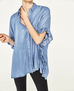 Discover the new ZARA collection online. The latest trends for Woman, Man, Kids and next season's ad campaigns. Zara Tops, Frill Shirt, Shirt Dress, Shirts & Tops, Casual Chic, Denim Button Up, Button Up Shirts, Maternity Shops, Fashion Catalogue
