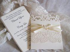 Lace Romance Wedding Invitations, French Market Elegant, Shabby Chic, Vintage Inspired, Haute Couture Invitations. $8.50, via Etsy.