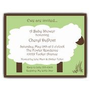 Lullaby Lamb Green Baby Shower Invitations | PaperStyle