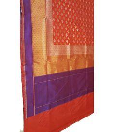 Rust gold handloom Banarasi Pure Silk Saree