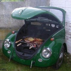 this Beetle Bug BBQ pit!!! vw beetles, yard, vw bugs, epic win, barbecu, outdoor kitchens, smoker, bbq grill, old cars