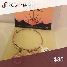 "Alex & Ani Seek Solitude Bangle Bracelet Sunset A beautiful pink, gold bangle featuring a circular charm reading ""seek solitude"". Alex and Ani Jewelry Bracelets"
