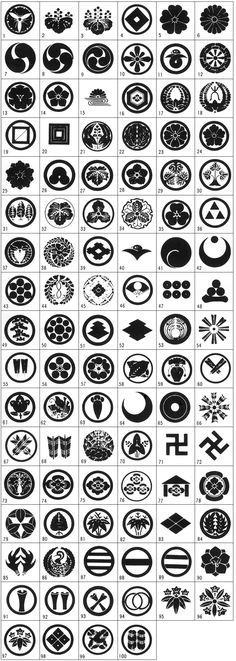 Kamon 家紋 - Japanese emblems used to decorate and identify an individual or family. Similar to the coats of arms in Europe. Maybe to use as symbols on their sleeves? Japanese Patterns, Japanese Design, Japanese Art, Medieval Combat, Japanese Family Crest, Geniale Tattoos, Art Japonais, Logo Design, Graphic Design