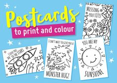 """FREE """"missing you"""" printable postcards to colour Teacher Thank You Cards, Thank You Cards From Kids, Miss You Cards, Kids Cards, Free Printable Coloring Sheets, Coloring Sheets For Kids, Kids Coloring, Love My Kids, Diy For Kids"""