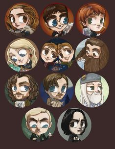 At last, Harry Potter buttons DONE. I knew it'd be quite the undertaking when I began and boy was it ever. Hope I captured the likenesses well enough! Fun fact that I never noticed (because I myself always get Huffle or Gryff on quizzes, making me a...