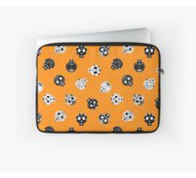 Scrolled sugar skulls pattern - Orange - Laptop Sleeve by wickedrefined, visit redbubble to see this design pattern on other gifts.