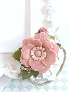 Felt Flower Crown Blush. Baby Shower Gift. Dainty Floral