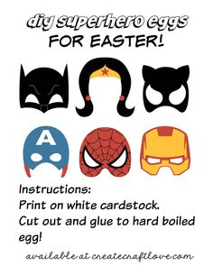 DIY Superhero Easter Eggs complete with free printable available at createcraftlove.com! You could enlarge these and use them as photo props