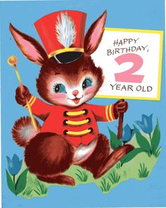 1960s Birthday Card Two-Year Old  1 of 3