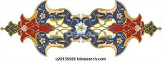 Clip Art of Blue, Red and Yellow Floral Arabesque Design u28136588 - Search Clipart, Illustration Posters, Drawings, and EPS Vector Graphics Images - u28136588.eps
