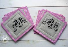 Textile Mug Rugs Cats-Set of 6/Patchwork Mug by TextileHomeware