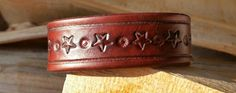 Boho Leather Cuff Bracelet-Rich Mahogany by LeatherVision on Etsy