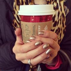 Shellac gold nails. Starbucks. And leopard print. Three things I love in one pic