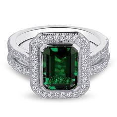 Diamonvita Couture® 1 3/4 ct. tw. Lab-Created Emerald & Swarovski Zirconia Ring Set in Sterling Silver