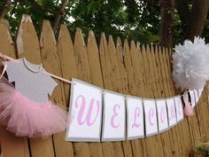 Handmade baby shower banner.