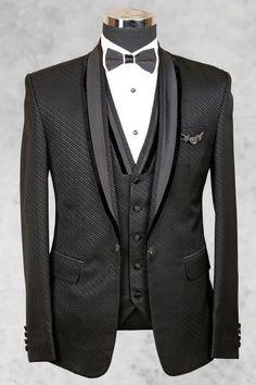 Grey Italian Printed Tuxedo Suit-ST454